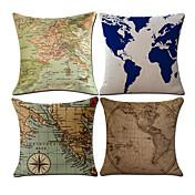 4 PC Algodón/Lino Cobertor de Cojín Funda de almohada,Novedad Mapa Clásico Vintage Casual Retro Tradicional/Clásico Neoclasicismo Europeo
