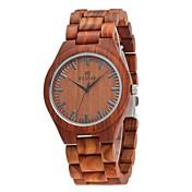 Redear Hombre Reloj Madera Japonés de madera Madera Banda Lujo / Elegante Marrón / Acero Inoxidable