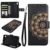 Etui Til Sony Z5 Sony Xperia XP Sony Sony Xperia XA Kortholder Lommebok med stativ Flipp Heldekkende etui Mandala Hard PU Leather til