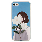 케이스 제품 Apple iPhone 7 Plus iPhone 7 패턴 뒷면 커버 섹시 레이디 꽃장식 소프트 TPU 용 iPhone 7 Plus iPhone 7 iPhone 6s Plus iPhone 6s iPhone 6 Plus iPhone 6