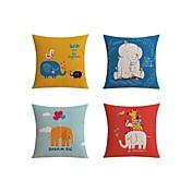 4 PC Lino Funda de almohada Cobertor de Cojín Almohada de cama Almohada de cuerpo Almohada de viaje El amortiguador del sofá,Patrón Vida