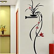 Floral/Botánico Botánico Romance Pegatinas de pared Calcomanías 3D para Pared Calcomanías Decorativas de Pared,Acrílico Material