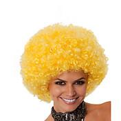 인조 합성 가발 캡 없음 중 컬리 옐로 흑인 가발 흑인여성 제품 코스플레이 가발 의상 가발