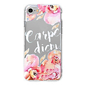 Funda Para Apple iPhone 7 Plus iPhone 7 Diseños Funda Trasera Palabra / Frase Flor Suave TPU para iPhone 7 Plus iPhone 7 iPhone 6s Plus
