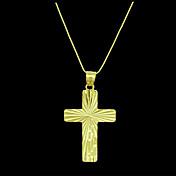 Herre Anheng Kors Gullbelagt Metall Smykker Til Daglig