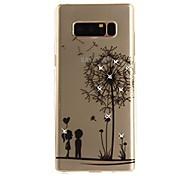 Funda Para Samsung Galaxy Nota 8 Diamantes Sintéticos Ultrafina Transparente Diseños Funda Trasera Diente de león Suave TPU para Note 8