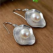 Dame Øredobber Dråpeøreringer Perle Mote Enkel Stil Perle Sølv Geometrisk Form Smykker Sølv Daglig Avslappet Kostyme smykker