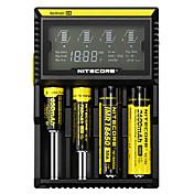 Nitecore D4 Batterilader Beskyttet krets / Kortslutningsvern / Overladingsvern til Li-ion / NI-CD / Ni-MH 10440,14500,16340 (RCR123), 17500,17670,18350,18490,18500,18650,22650,26650, AA, AAA, AAAA, C
