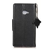 Etui Til Samsung Galaxy A7(2017) A5(2017) Kortholder Lommebok Flipp Heldekkende etui Helfarge Hard ekte lær til A3 (2017) A5 (2017) A7