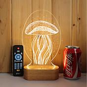 1 juego de 3d de madera maciza led luz de la noche usb lámpara de estado de ánimo control remoto oscurecimiento medusa de regalo
