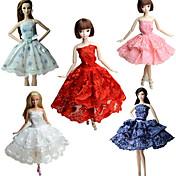 Fiesta/Noche Vestidos por Muñeca Barbie  Tela de Encaje Satín Vestido por Chica de muñeca de juguete