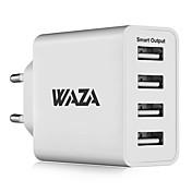 cargador de pared waza 25w cargador de viaje de salida de 4 puertos 2.4a salida inteligente máxima cada puerto para iphone, galaxy, lg, piexl, moto,