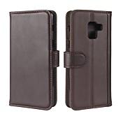 Etui Til Samsung Galaxy A8 2018 A8 Plus 2018 Kortholder Lommebok med stativ Flipp Magnetisk Heldekkende etui Helfarge Hard ekte lær til
