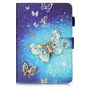 Etui Til Samsung Galaxy Tab S2 9.7 Kortholder Lommebok med stativ Mønster Auto Sove/Våkne Heldekkende etui Sommerfugl Hard PU Leather til
