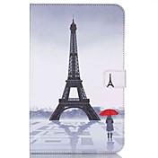 Etui Til Samsung Tab E 9.6 Kortholder Lommebok med stativ Mønster Auto Sove/Våkne Heldekkende etui Eiffeltårnet Hard PU Leather til Tab E