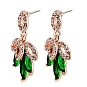 Mujer Cristal / Zirconia Cúbica Cristal / Zirconio / Chapado en Oro Pendientes colgantes - Clásico / Elegant / Moda Verde Trébol de