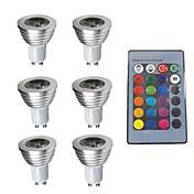 6pcs 3W 280lm GU10 LED-spotpærer 1 LED perler Mulighet for demping Dekorativ Fjernstyrt RGB 200-240V