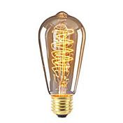 1pc 40W E26/E27 ST64 Varm hvit 2200-2700 K Kontor / Bedrift Mulighet for demping Dekorativ Glødende Vintage Edison lyspære 220V-240V