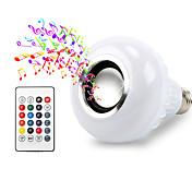1pc 12 W 600 lm E26 / E27 Smart LED-lampe 26 LED perler SMD 5050 Bluetooth / Fjernstyrt / Lyd høyttaler RGB 85-265 V / RoHs