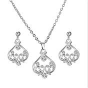 Mujer Zirconia Cúbica Conjunto de joyas - Corazón Europeo, Moda, Elegante Incluir Pendients de aro / Gargantillas Plata Para Boda / Fiesta / Pendientes