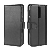 For Case Cover Card Holder Wallet with Stand Flip Full Body Case Solid Color Hard Genuine Leather for Nokia Nokia 8 Nokia 6