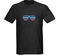 T-shirt con LED Luci LED attivate con suono Tessuto Cartoni animati 2 batterie AAA