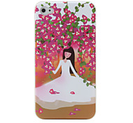 Stylish Protective Hard Back Case for iPhone 4 / 4S (Flowers & Girl)