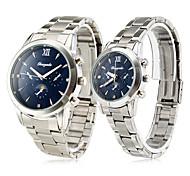 Herren Damen Paar Armbanduhren für den Alltag Quartz Edelstahl Band Luxuriös Silber Blau