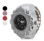 cheap -Women's Quartz Ring Watch Japanese Casual Watch Stainless Steel Band Flower Fashion Silver