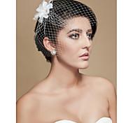cheap -Wedding Veil One-tier Blusher Veils Birdcage Veils Cut Edge Tulle