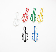 Guitar Pattern Plastic Wrapped Paper Clips(10PCS Random Colors)