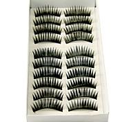 cheap -Longer Darker Thicker Curved Version Handmade Black Fiber Lashes False Eyelashes 1028#(10 Pairs Per Box)