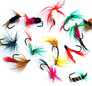 "12 pcs Flies Lure kits Fishing Lures Flies Lure Packs Black Brown Green Yellow Red Blue Assorted Colors g/Ounce,15 mm/<1"" inch,MetalFly"
