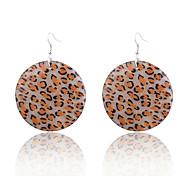 Europestyle Leopard Print Shining Powder Wafer Alloy Drop Earrings