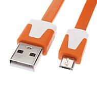 cheap -Micro USB to USB Male to Male Data Cable for Samsung/Huawei/ZTE/Nokia/HTC/Sony Ericson  Flat Type Orange(1M)