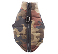 Dog Coat Vest Dog Clothes Cotton Winter Spring/Fall Casual/Daily Camouflage Red Green Blue Pink Camouflage Color Costume For Pets