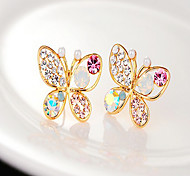 cheap -Women's Butterfly Pearl Rhinestone Stud Earrings - Golden Animal Earrings For Party Daily