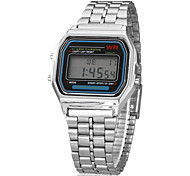 cheap -Men's Digital Wrist Watch Alarm Calendar / date / day Chronograph LCD Alloy Band Charm Silver