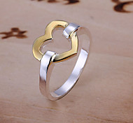 Silver & Gold Heart Pattern Ring