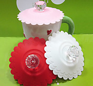 Diamond Handle Silicon Leak Proof Lovely Cup Cover(Random Color)