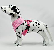 Dog Harness Adjustable / Retractable Polka Dots Fabric Black Green Blue Pink