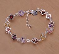 Sweet 23cm Women's Silver Copper Tennis Bracelet(Silver)(1 Pc)