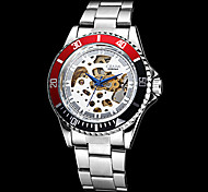 Men's Auto-Mechanical Black & Red Case Hollow Dial Steel Band Wrist Watch (Assorted Colors) Cool Watch Unique Watch