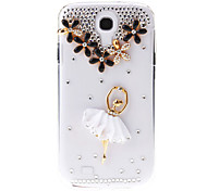 Embossed Ballet Girl Pattern Transparent Hard Back Cover Case with Glue for Samsung Galaxy S4 I9500