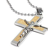cheap -Men's Cross Stainless Steel Pendant Necklace  -  Classic Golden Gold / Silver Necklace For Party Gift Daily
