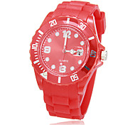 cheap -Men's Quartz Sport Watch Japanese Fashion Silicone Band Casual White Red