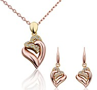 Women's Jewelry Set Luxury Love Fashion Party Rose Gold 18K gold Imitation Diamond Alloy 1 Necklace 1 Pair of Earrings
