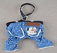Недорогие -Собака Брюки Одежда для собак Джинсы Синий Хлопок Костюм Для домашних животных Лето