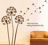 cheap -1PCS Brown Dandelion Pattern Wall Sticker Wall Decoration