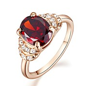 Simulated Diamond Ruby Engagement Ring  Classical Feminine Style